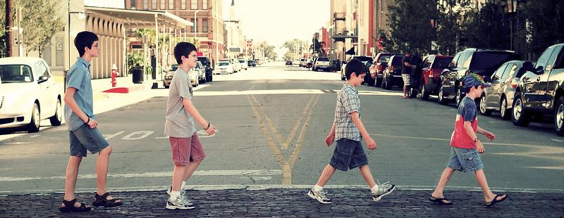 September, 2010<br /> <br /> The boys reenact a Beatles-esque moment crossing a street in Galveston, TX.