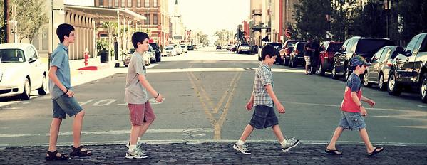 September, 2010  The boys reenact a Beatles-esque moment crossing a street in Galveston, TX.