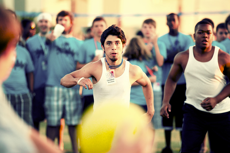 June, 2010<br /> <br /> A participant considers his options during a game of dodge ball at Beach Retreat.