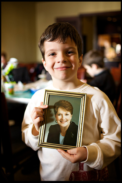 """January, 2010<br /> <br /> Ethan beams after finding a picture of his """"Gran""""."""