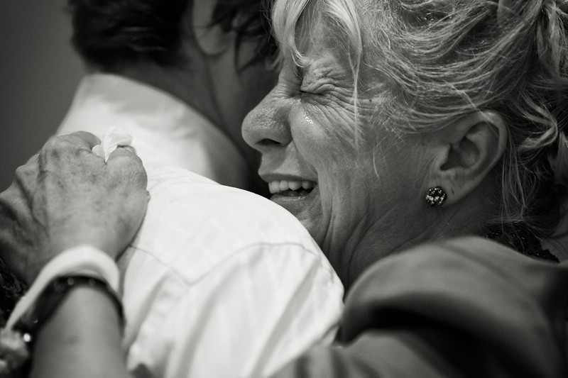 May, 2010<br /> <br /> The groom's mother cries tears of joy dancing with her son at the reception.