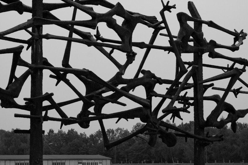 This sculpture is outside the visitors center/museum at the Dachau concentration camp testifies to the suffering, torture, and bondage to which the prisoners were subjected there. .