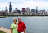 """July 25 2010  40 Years!<br /> <br /> We're back from our Chicago downtown """"getaway"""" to celebrate our 40th anniversary.  We had a bit of a time getting through flooded streets to get there but we made it and had a great time.  This picture is similar to the one I posted last year  <br /> <a href=""""http://arthill.smugmug.com/Photography/Daily-Photos-2009/10818177_dNL7K#602750095_ZW4iH-A-LB"""">http://arthill.smugmug.com/Photography/Daily-Photos-2009/10818177_dNL7K#602750095_ZW4iH-A-LB</a><br /> showing us in front of the Chicago skyline.<br /> <br /> There was so much rain that the Chicago River rose over the River Walk sidewalks and the tour boats were cancelled because they couldn't fit under the bridges.  Amazing - about 7 inches of rain in one night.<br /> <br /> But nothing dampened our celebration.  We stayed in a great hotel, the Wit, right in the heart of the loop at State and Lake.  The movie Transformers 3 was being filmed right around the corner.<br /> <br /> The kids came down and took us to dinner at Roy's.  It was fantastic.  Today, no rain, lower termperature and low humidity - the perfect day to walk around one of the most beautiful cities in the world."""