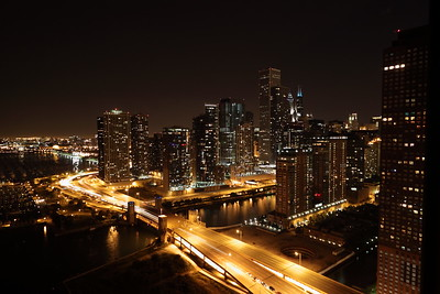 September 7 2010 Chicago is My Kind of Town  In this night skyline shot you can see the Chicago River in the center, the famous S-Curve of Lake Shore Drive near the bottom and Monroe Harbor in the distance to the left.  I shot this looking South East from th 31st floor of Lake Point Tower.  Thank you so much for making my Raining Fire picture #1 yesterday.  I was fascinated by the observation that it reminded some people of a weeping willow tree.