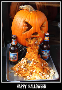 October 31 2010 Happy Halloween  We went on the La Grange Halloween Walk yesterday. One of the restaurants was displaying the entries in their pumpkin carving contest.