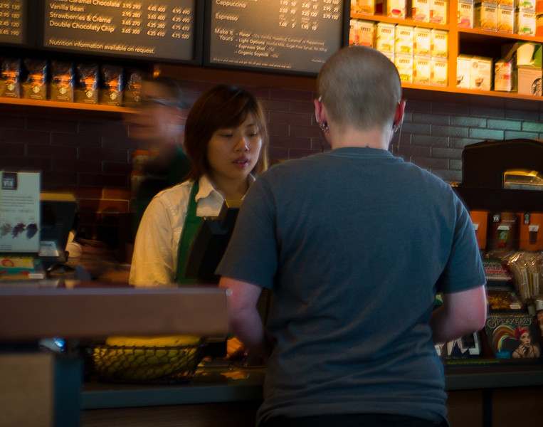 Super slow exposure and I get a ghost barista!