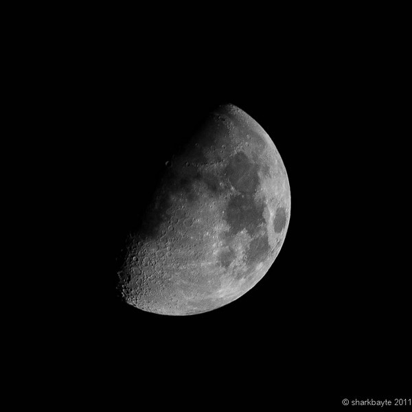 Waxing Gibbous-Nine day old moon. 62% visible. I took this last night on the deck,  I still can't get down the ramp because of the ice. Maybe today the rest of the ice will melt. Day 14:365 @sharkbayte #365Project<br /> <br /> I am not sure what happened with the upload as it looks very tiny on my screen as soon as I can get to the computer where this is stored I can see what has happened. It shouldn't be this small. Thanks for all the comments on my pictures. I have been trying to comment on everyone's photos but the past few days, I haven't been feeling too well. So if I don't seem to be as active it's just my body trying to recharge.