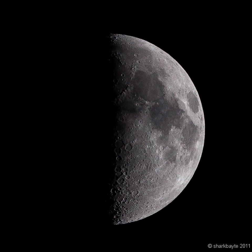 March 13, 2011-Last night's moon was called the first quarter moon. It was eight days old and already fifty percent full. (Day 72 #365Project @sharkbayte)