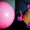 Balloon Pop! (2/9/2011)<br /> Last week I built a remote sound trigger for my flash and tested it by popping balloons with darts. This is the before and after shot of one of these attempts. <br /> I do still have work to do on the lighting because I am creating a ghostly, multiple image shot rather than a crisp high speed shot (e.g., in this shot you can see through my hand). I believe this is caused by the flash not discharging fast enough (even at 1/64th power).  Any suggestions are welcome.<br /> Shot with 4.0 second exposure at F7.1…the flash does all the work.<br /> <br /> Hope you have a great day,<br /> -Bob