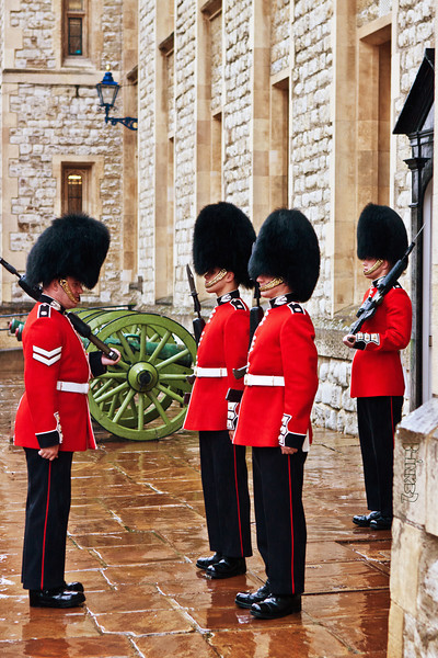The Queens Guards (8/21/2011)<br /> Even in the rain they stand inspection. Taken at the Tower of London.<br /> -Bob