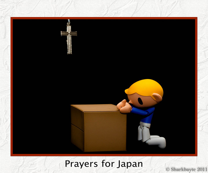 March 16, 2011 (Nippon no tame ni inoru 日本のために祈る) Prayers for Japan and all the people touched by this tragedy. A lot of my figures are Japanese figures and I wanted to do a shot with all of them, but nothing was appealing to me except this one. 75:365 @sharkbayte