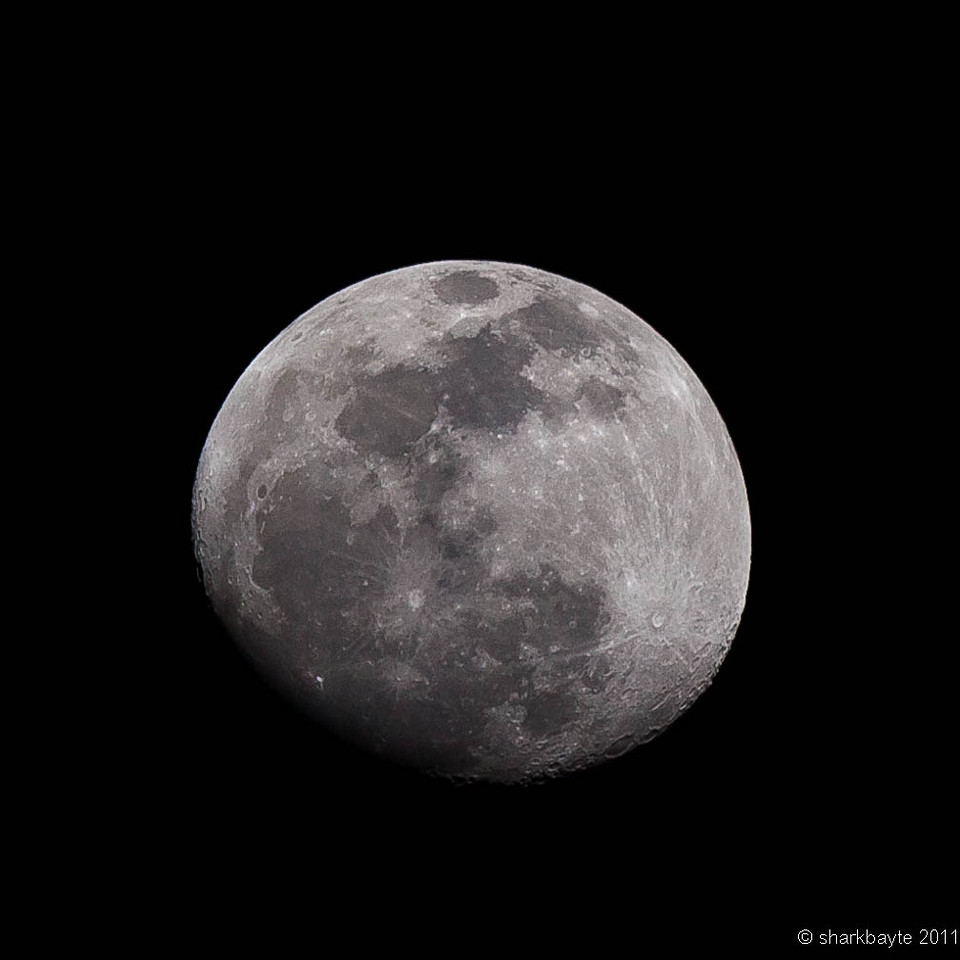 February 16, 2011-Last night's moon (waxing gibbous), is only 13 days old and 93% full. I am reshooting most if not all of my last year's moon shots so I can do a calendar. I am hoping to get the full phase calendar. Day 47 #365Project @sharkbayte