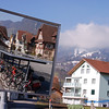 This is one of my favorite photos. It was taken in Interlaken, Switzerland. The town is a change point on the rail system going through the Swiss Alps. The Photo shows from the train the bikes used in this small town in the mountains through the mirror used by the conductor.