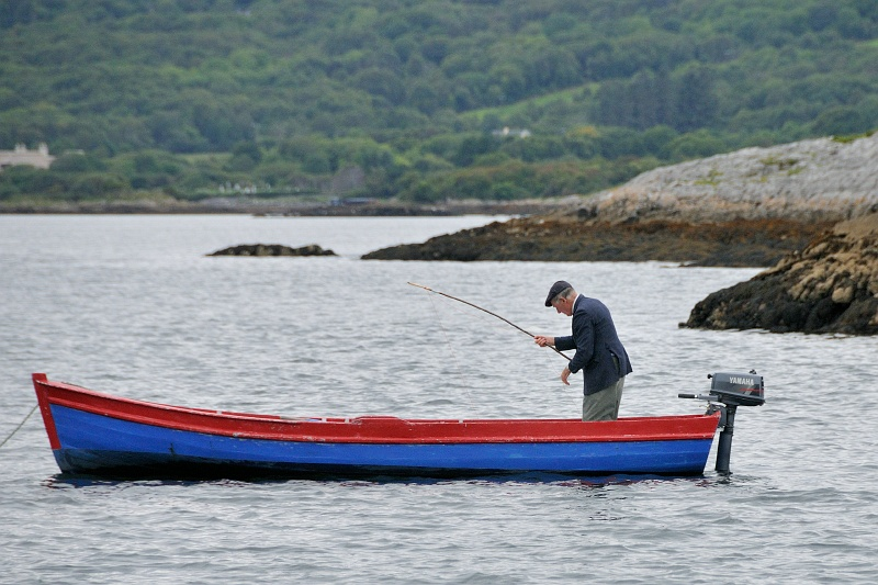 11 Sept: On the seal-watching cruise.  This gentleman fishes every day.