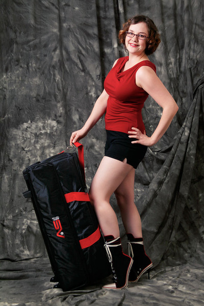 11/15/11: Photograph of Courtney with Smith Victor case using the three monolights that originally were in the case.