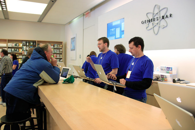 "Mary went to the Apple store (1/23/11) to sort out her new MacBook Air and her idevices. I made this picture and they told me to stop because ""people are always coming in there before new products are announced. The manager doesn't like photos."""
