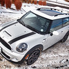 Mini in the Snow - 1/2/11. Hail Mary shot made with Olympus EP-L1 with an exposure of 1/40 sec at f/11 and ISO 400.