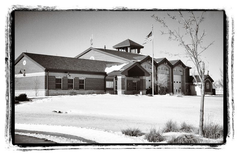 Todd Creek Fire Station, Jan 3, 2011. Image captured with Olympus EP-L1 and tweaked in Photoshop using Kubota's Image Tools Photoshop and Bor-tex actions packages.