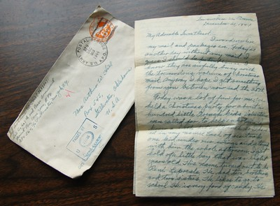 "April 19 2011 Happy Birthday Dad  My Dad was born 100 years ago today so this image is a tribute to him.  It is a letter he wrote to my Mom in 1944 shortly before spending his fourth Christmas away from her. In it he describes a Christmas party that his army unit held for ""about 100 little French kids"". My Dad was paired up for the afternoon with an 8 year old boy. They had presents, a meal, singing and a visit from Santa.  My Dad gave the little boy an American penny, and English penny and an Egyptian coin.  He ended the description of the event saying ""I fully enjoyed the whole party. Maybe some future Christmas I'll be helping a son of ours to enjoy the big day.""  Nineteen months later I became that boy and my Dad helped me enjoy 38 Christmases before we lost him.  Thanks Dad. And one more thing - I got to ride a camel in front of the pyramids last year and you were right, it was amazing. http://arthill.smugmug.com/Photography/Daily-Photos-2010/5529181_hoJ5g#841425782_mwgw3-A-LB  More photos of my Dad http://arthill.smugmug.com/Family/My-Dad/16677340_SnZCC9"