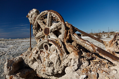 6/03/2012 After Flood: abandoned, salt-encrusted machinery on Bombay Beach, Salton Sea