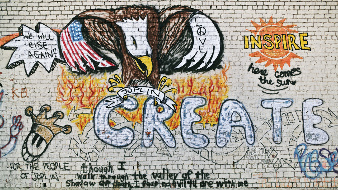 An inspiring graffiti wall in Joplin, MO motivating those affected by the 2011 tornado.