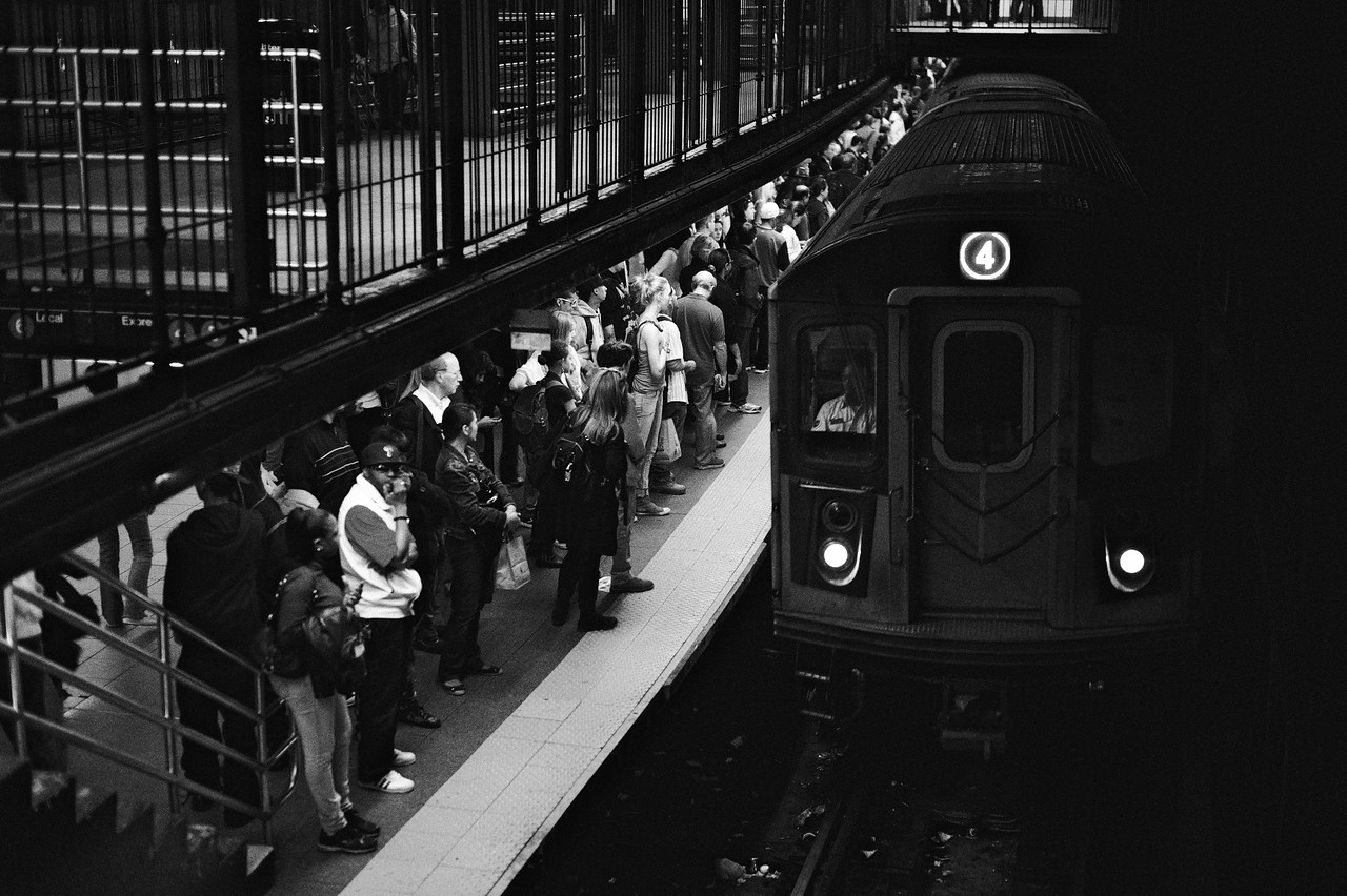 People waiting for the Subway in NYC.