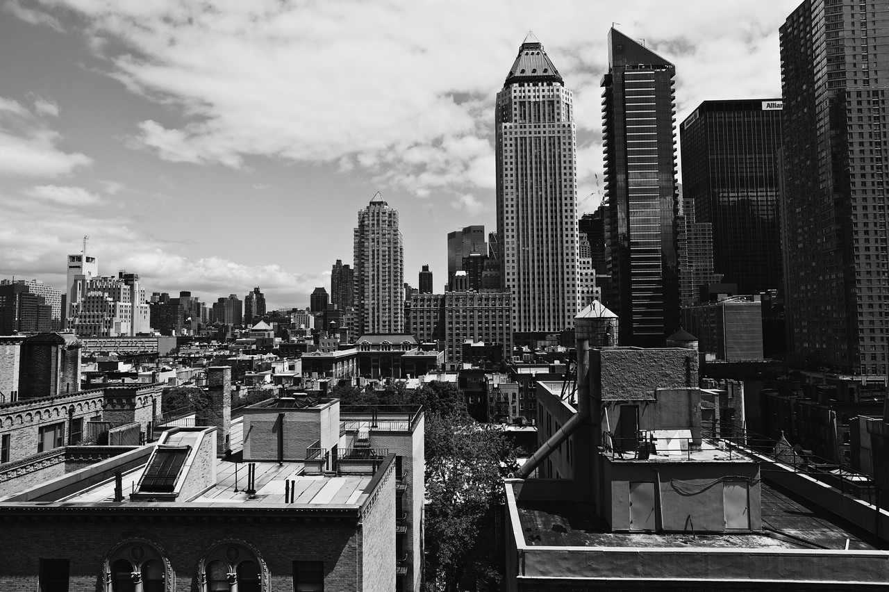 Shot of the city from the top of Sony/Battery Mastering.