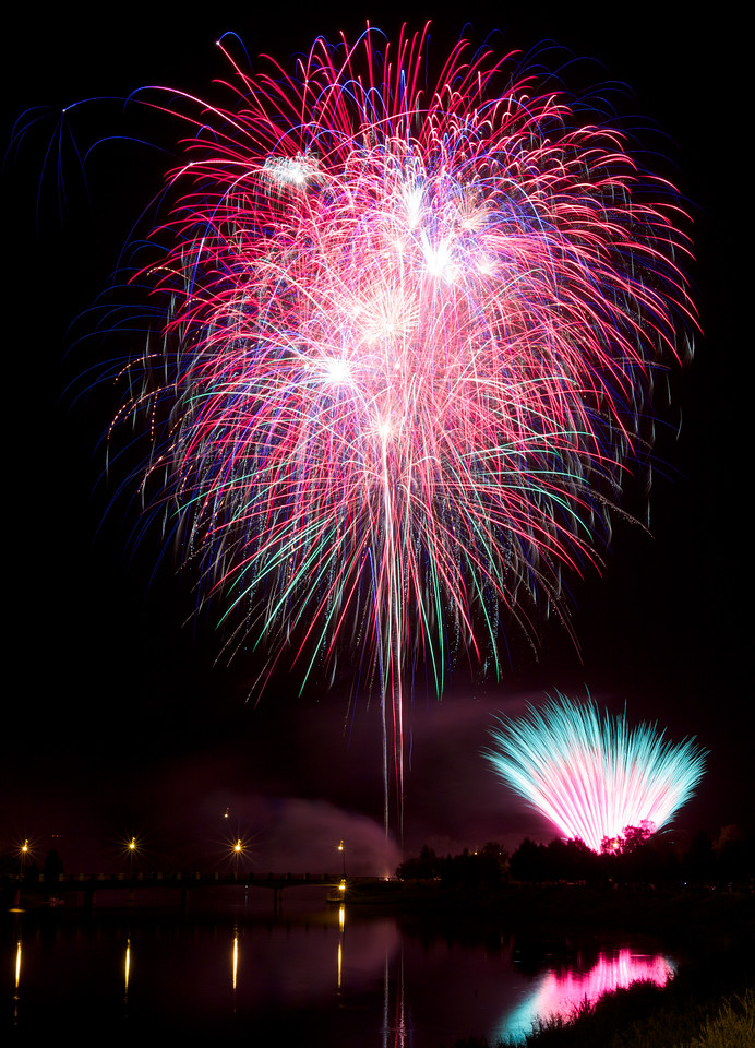 Fireworks over Silver Lake in Rochester, MN.