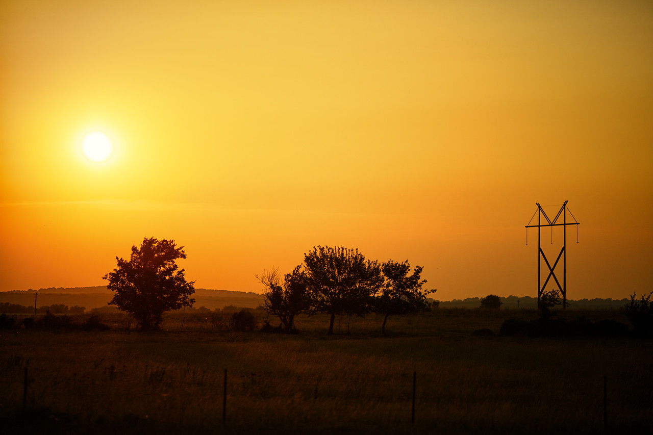 Beautiful sunset over the Oklahoma plains as we drove to MN.