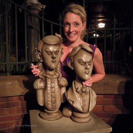 The twins at the Haunted Mansion (our second ride)