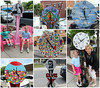June 14 2012 More La Grange Clocks<br /> <br /> A week ago I showed you a few of the clocks that make up this year's La Grange Public Art project.  Here are a few more, this time with Jill and the grandaughters.<br /> <br /> Thanks for the great response to yesterday's water lily shot.