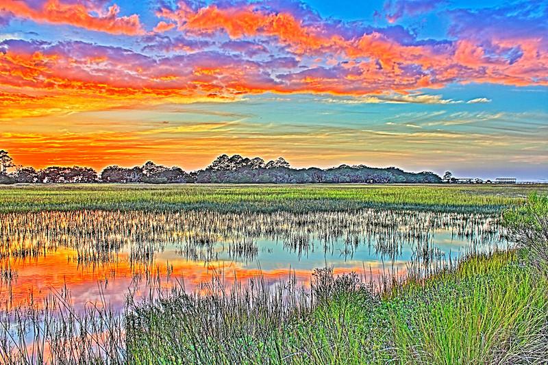 Jekyll Island Ga.Sunset Fishing Pier. Canon HDR. Canon T2i.