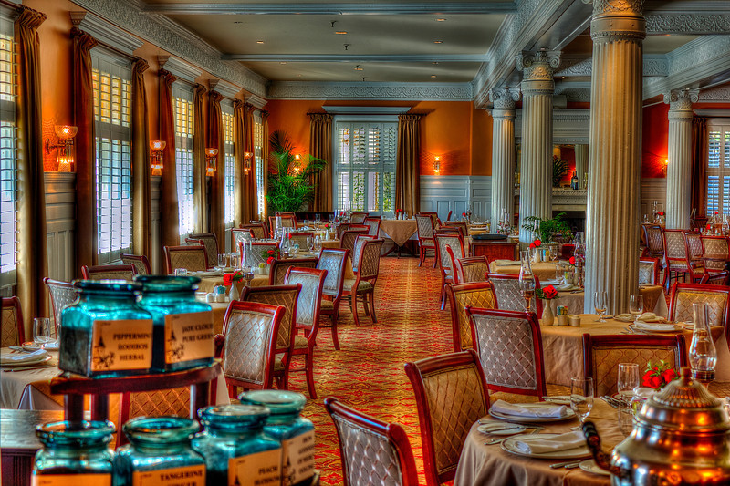Dining Room before Supper. Jekyll Island Club Hotel.This where the money people had their meals in the 20's and 30's on the island. During World War 2 with the threat of submarines the President of the U.S. had the Island evacuated lest the rich of the day be captured and turn our money system into nothing. For almost 50 years it laid into disrepair but now has been restored to it's haydays appearance.
