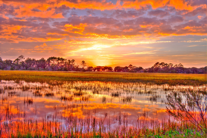 Jekyll Island Marsh Sunset Bicycle Path PhotoMatix HDR Canon T2i