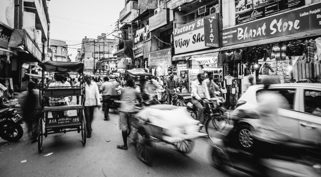 Market traffic. <br /> Punjab, India