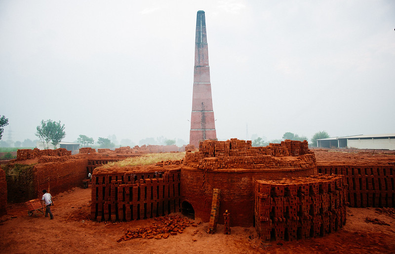 A worker hauls new bricks at a brick factory in Punjab, India.