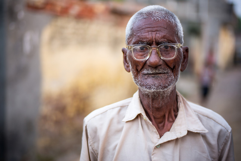 An elderly man in a remote village in Pujab, India.