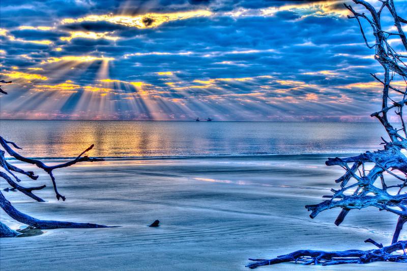 Driftwood Beach Shrimp Boats at Sunrise