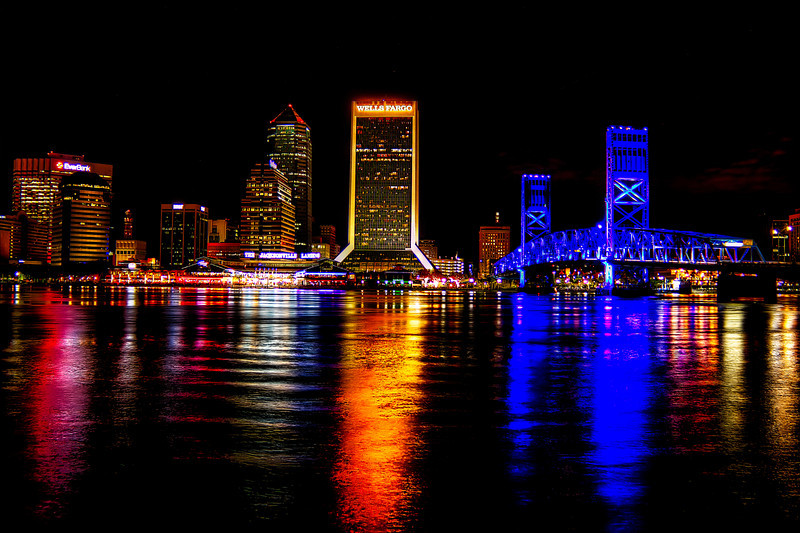 Jacksonville Downtown Night Photomatix Nik Dfine 2, Viveza 2 Lightroom 5 beta