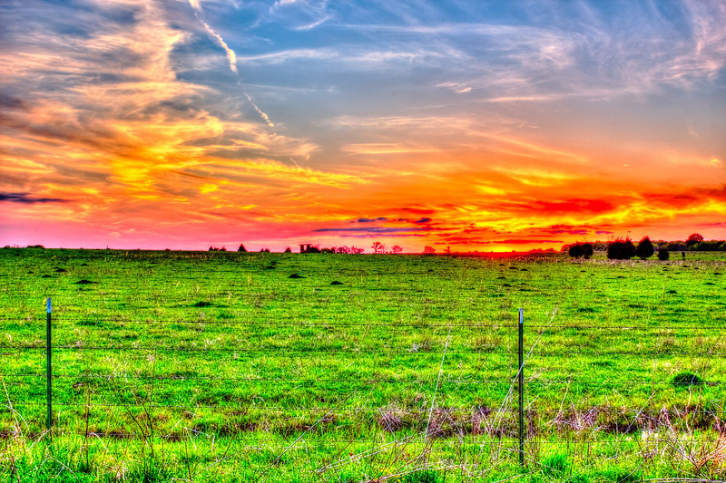 Mississippi Field Sunset. The cows have the best views.  Many people are just too busy to enjoy sometimes, this capture caught me off guard one evening while going to another location too late. with the naked eye this is what you see in all its splendor. Without my AV AEB I could not have captured this. I used my new Promote Control 15 shots at .3 AV f25 ISO 100 and 28mm and Photomatix. Without the high number of shots it is very difficult to get the green field due to such low light (the test auto shot was very dark foreground)  Spring and Fall some great sunrises and sunsets. I was on my way to the clover field but was toooo late (no one would have believed it was not Photoshopped  anyway.)