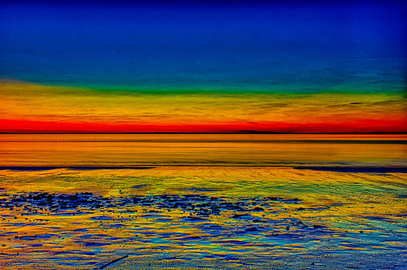 A Rainbow Evening at the Beach