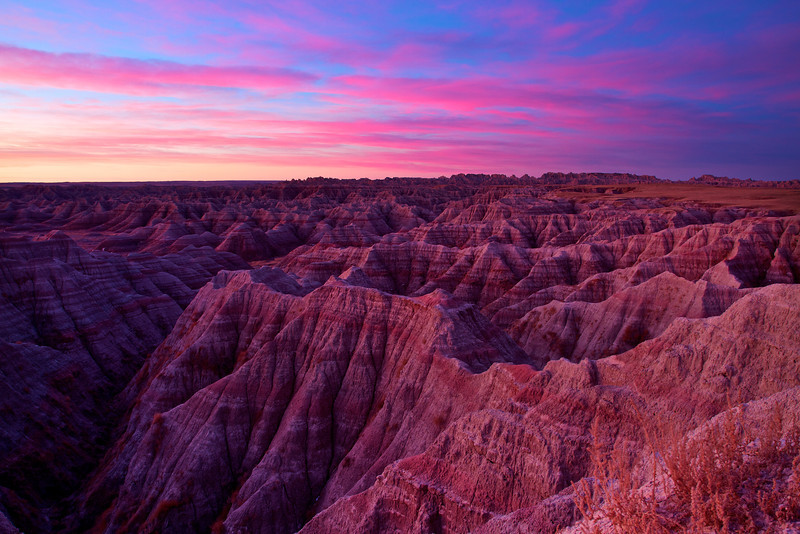 November photo used in my 2014 wall calendar. Taken in Jackson County, South Dakota.  Pre-sunrise light colors the Badlands.