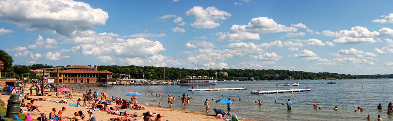 July 11 2014 Lake Geneva Beach<br /> <br /> 3 image pano.  Lake Geneva Wisconsin.  It was a gorgeous day yesterday.  We brought our folding chairs and set them up a few steps back from where I shot this pano.
