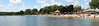 July 15 2014 Lake Geneva Beach<br /> <br /> Last week I posted a pano looking out over the beach.  This one shows the beach from the main pier.  We were sitting under those trees just left of center when I shot the other pano