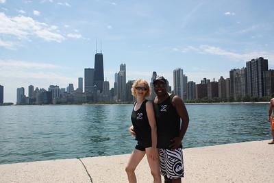 Team Zebra and Skyline from North Avenue Beach