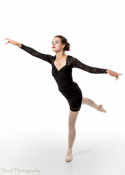 Young ballet dancer in arabesque pose