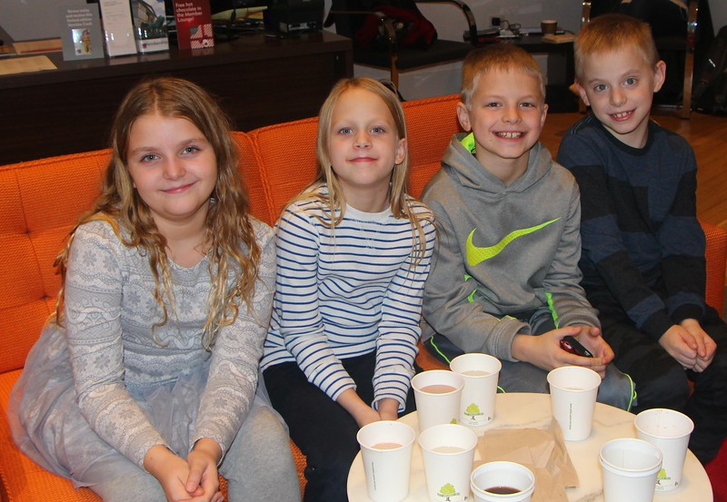 January 301 2015 Hot Cocoa<br /> <br /> We took all four grandkids downtown in late November.  This shot is having cocoa in the members lounge at the Art Institute.  Later we went over to Macy's to buy Christmas ornaments, eat under big Christmas tree and see Santa.
