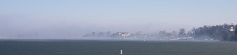Frozen lake, fog, sunshine