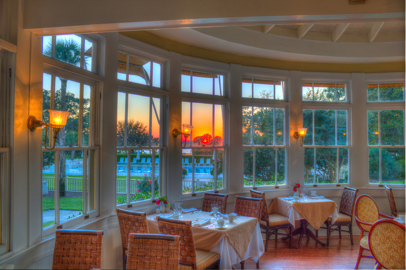 Jekyll Island Club Hotel Dining Room at Sunset Diner Hour