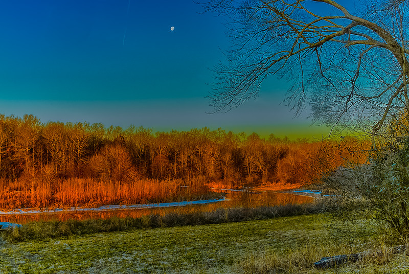 Clear and Cold Sunrise Moon Set